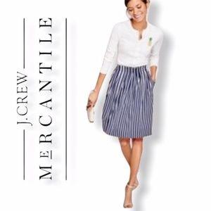 J. Crew Mercantile Striped Midi Skirt With Pockets